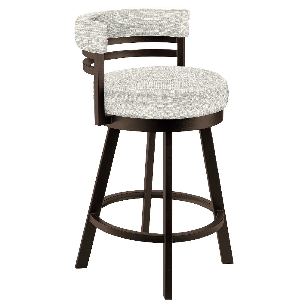 """Baja 26"""" Counter Height Metal Swivel Barstool in Cream Sugarshack 85 Performance Fabric & Capuccino Finish - Made in the U.S.A. - Taylor Gray Home B521H26GRAYSH85"""