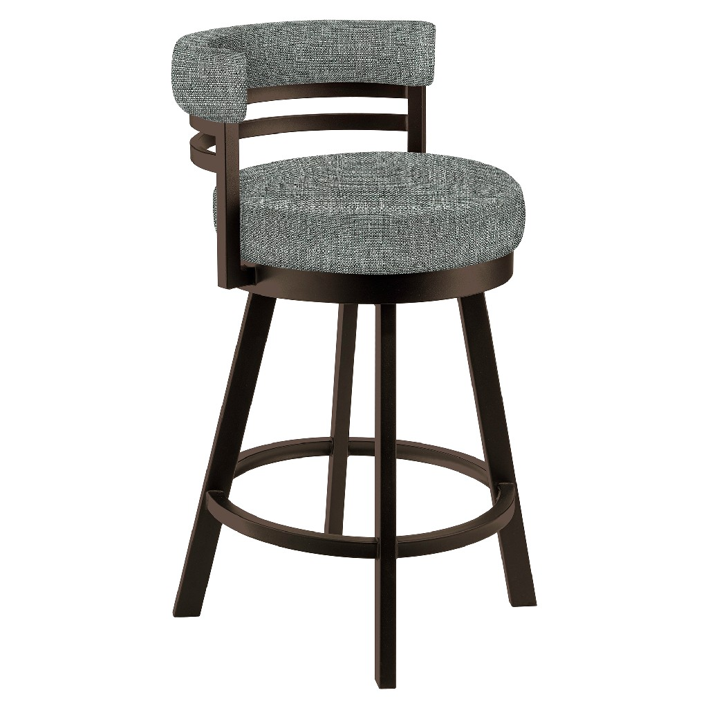 """Baja 26"""" Counter Height Metal Swivel Barstool in Gray Sugarshack 87 Performance Fabric & Capuccino Finish - Made in the U.S.A. - Taylor Gray Home B521H26GRAYSH87"""