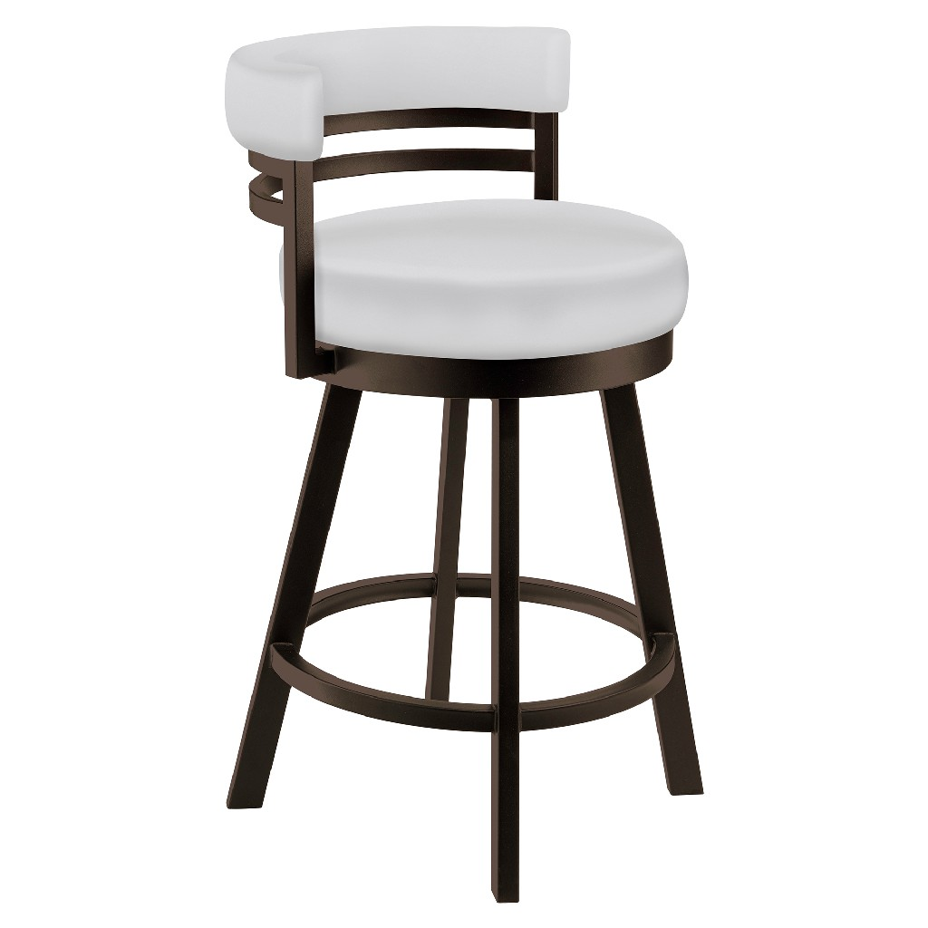 """Baja 30"""" Bar Height Metal Swivel Barstool in Aspen Pure White Faux Leather & Capuccino Finish - Made in the U.S.A. - Taylor Gray Home B521H30GRAYSPWH"""
