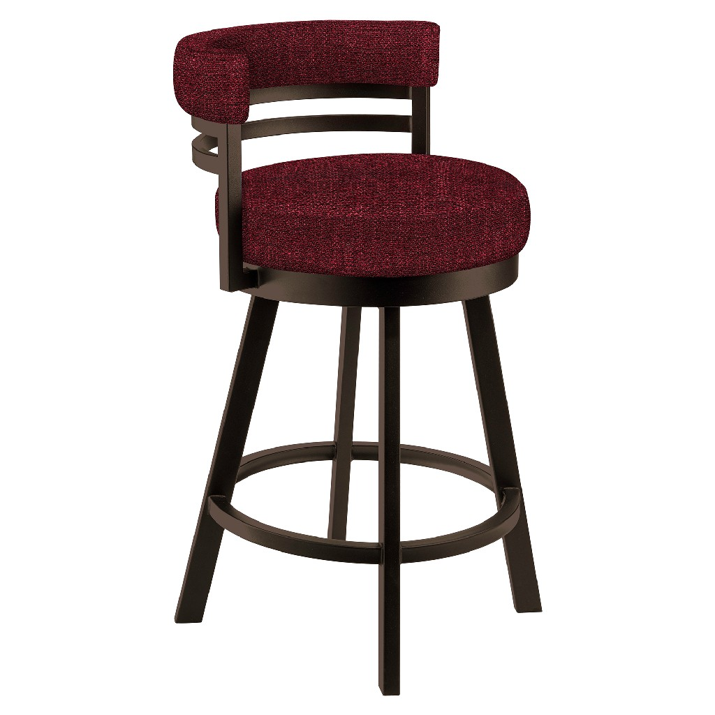 """Baja 30"""" Bar Height Metal Swivel Barstool in Red Whitaker 21 Performance Fabric & Capuccino Finish - Made in the U.S.A. - Taylor Gray Home B521H30GRAYWT21"""