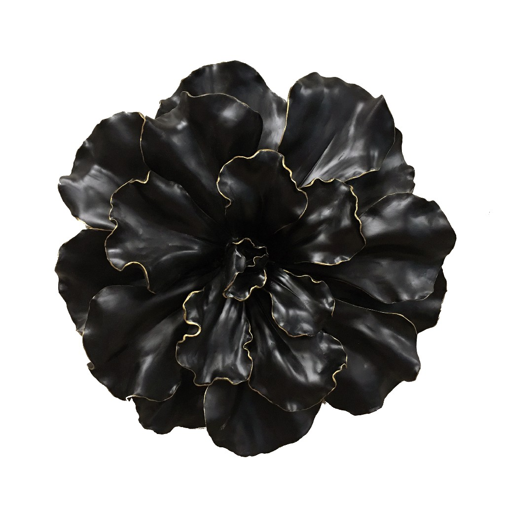 """Black and Gold Wall Flower 20"""" - Sagebrook Home 11131"""