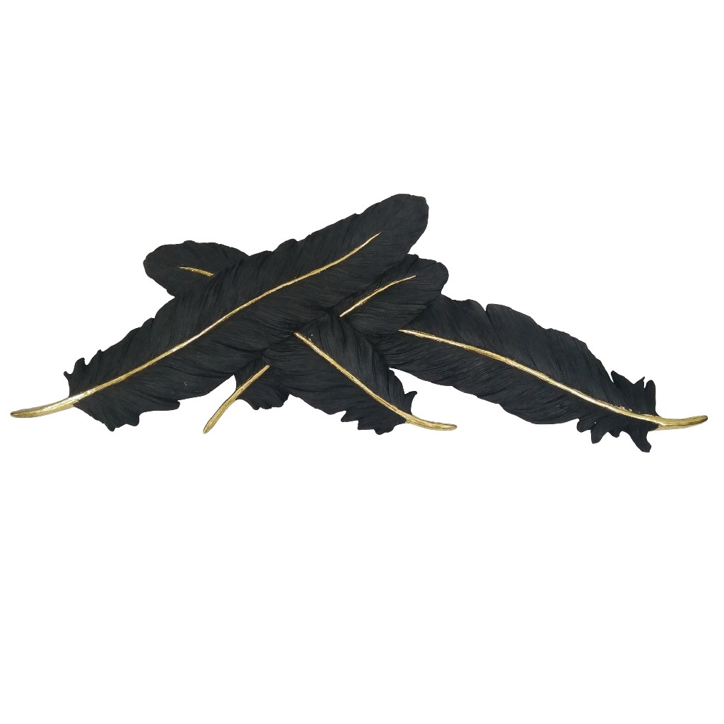 Black and Gold Feathers Wall Decor - Sagebrook Home 12160-06