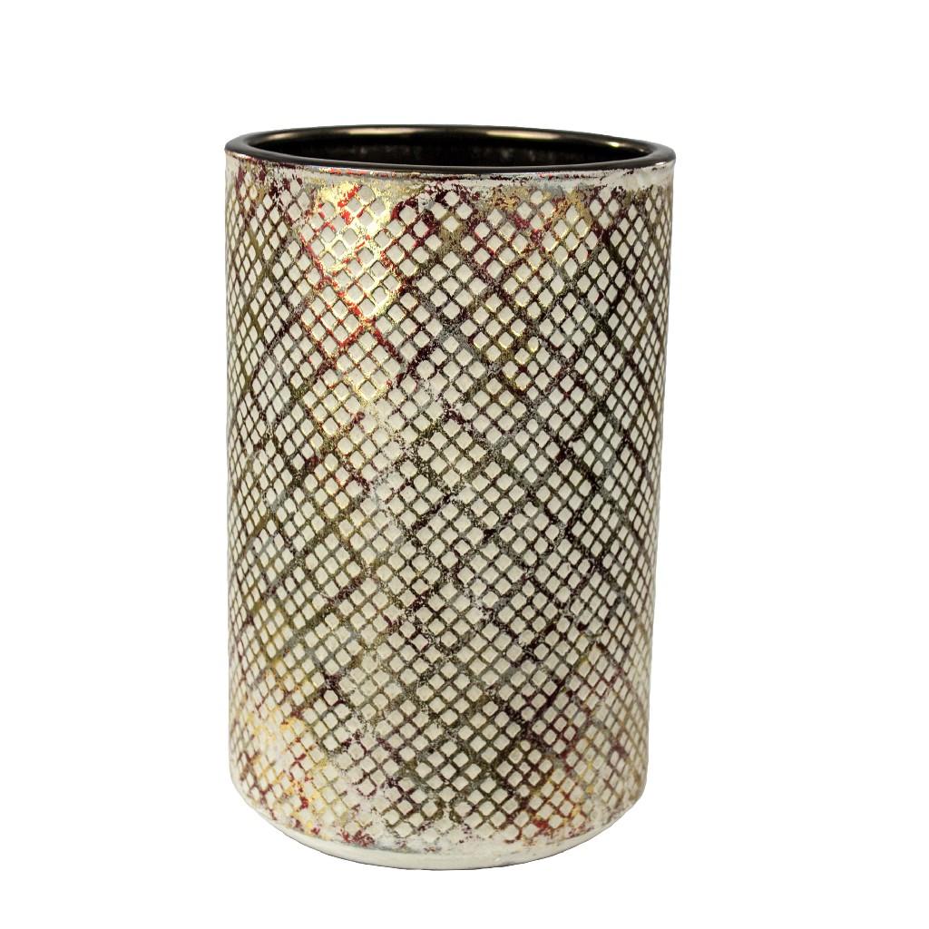 """Beige/Red/Gold Vase, 11.5"""" - Sagebrook Home 12362-01"""