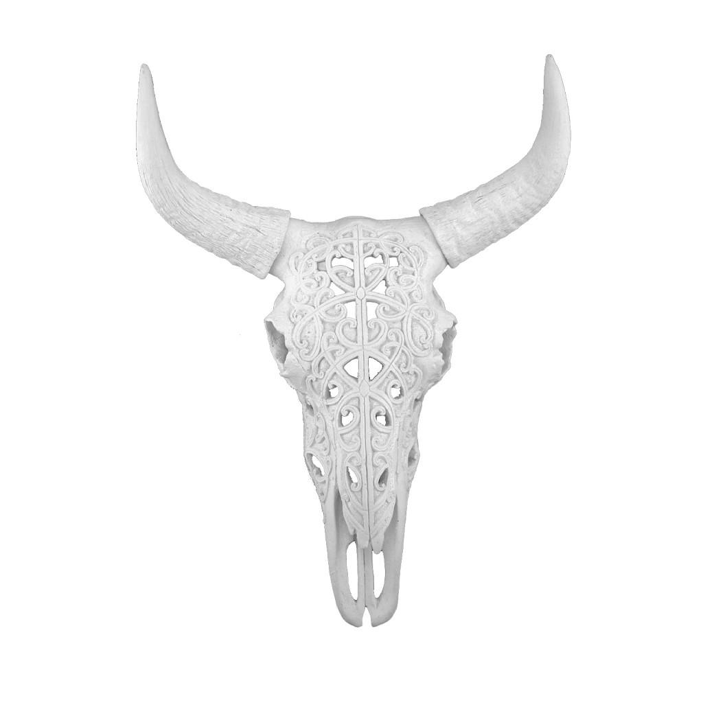 """Carved White Bull Skull 17.75"""" Kd - Sagebrook Home 13091-01"""