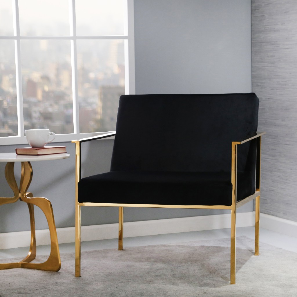 Black and Gold Velveteen Arm Chair - Sagebrook Home 13483-01