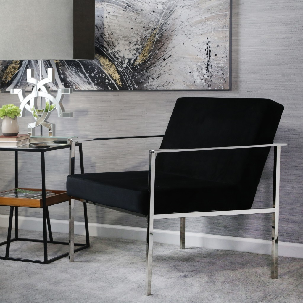 Black and Silver Velveteen Arm Chair - Sagebrook Home 13483-02