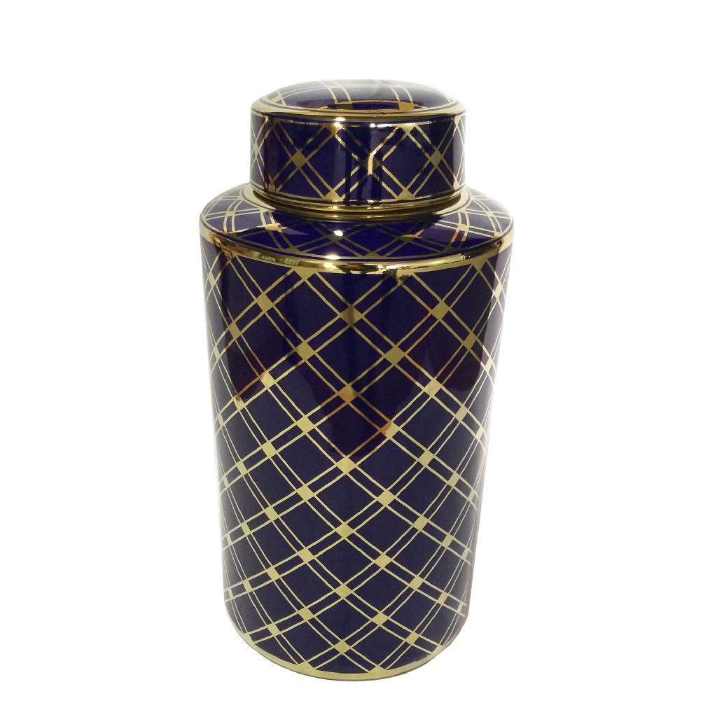 "Blue/Gold Ceramic Jar 15.75"" - Sagebrook Home 13572-01"