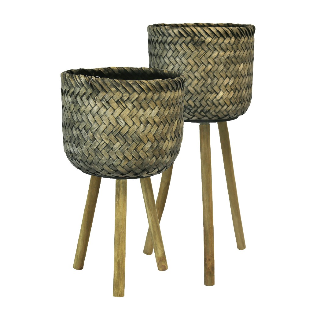 Bamboo Planters On Stands,Black Wash, Set of 2 - Sagebrook Home 13574-03