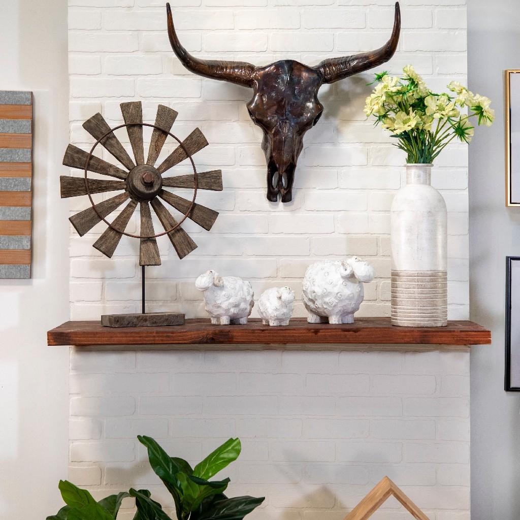 "Carved White Sheep 4.5"" - Sagebrook Home 13585-01"