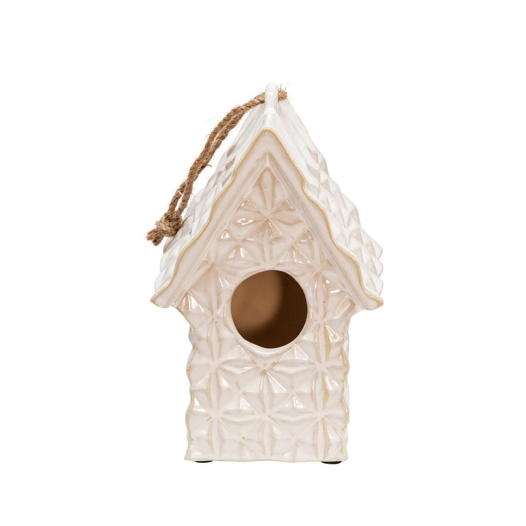 "10"" Textured Decorative Bird House, Ivory - Sagebrook Home 13728-08"