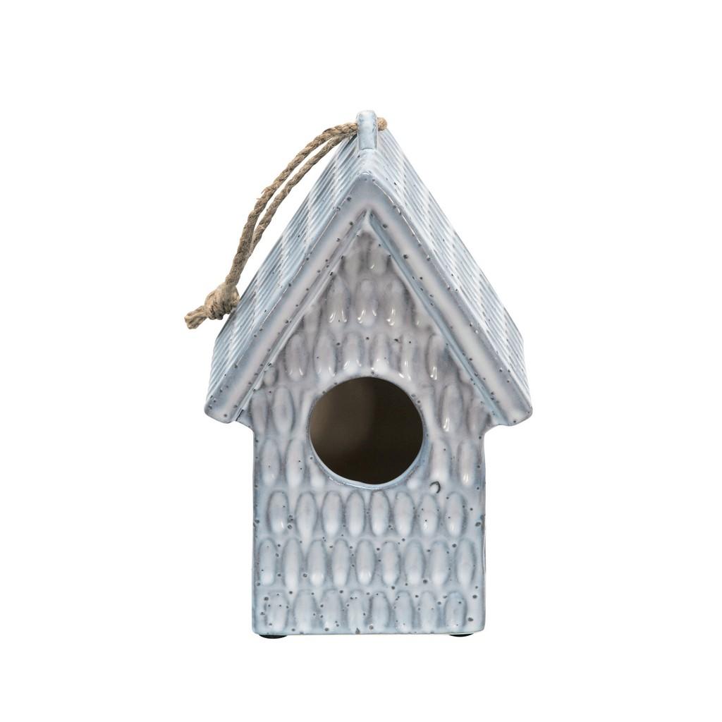 "10"" Hammered Decorative Bird House, Ivory - Sagebrook Home 13728-09"