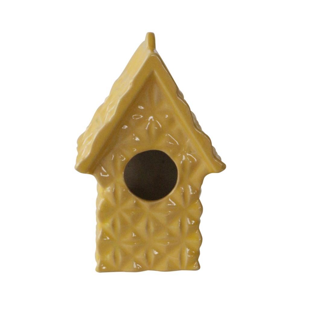 "10"" Textured Decorative Bird House, Yellow - Sagebrook Home 13728-11"