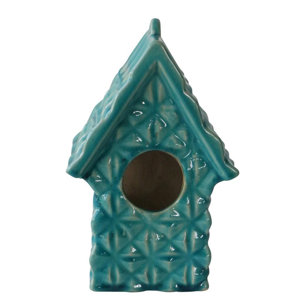 """10"""" Textured Decorative Bird House. Turq - Sagebrook Home 13728-15"""