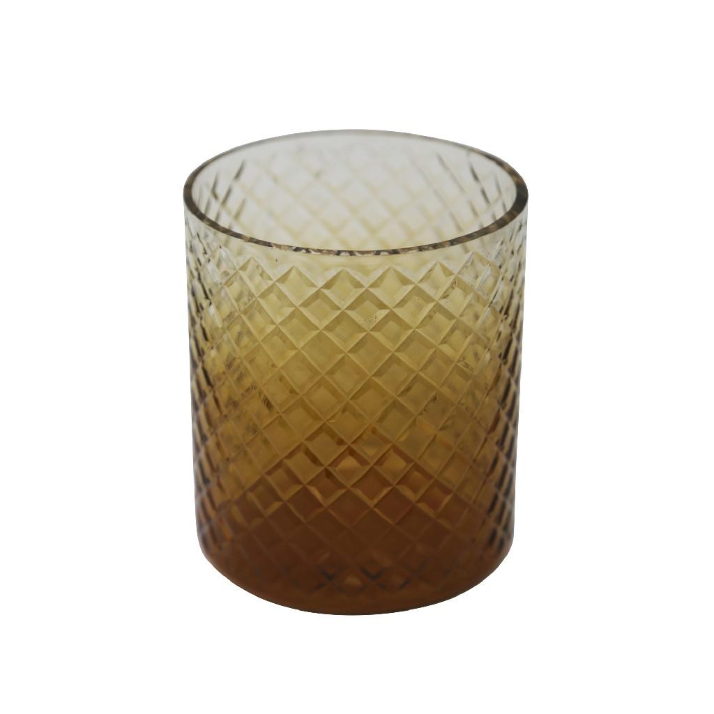"6"" Cut Glass Candle Holder, Amber - Sagebrook Home 13808-02"