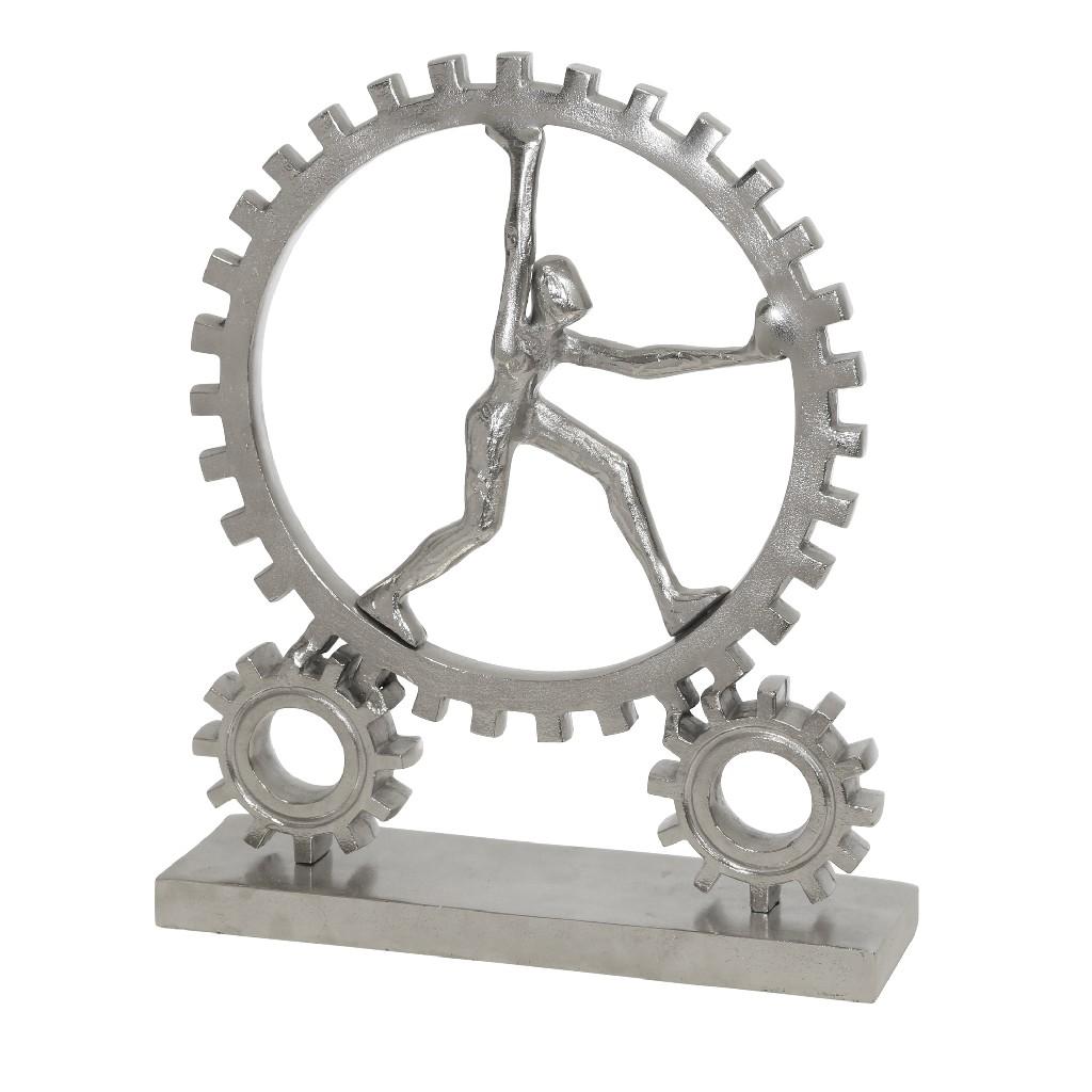 "Aluminum, 16"" Figurine With Gears, Silver - Sagebrook Home 14230"