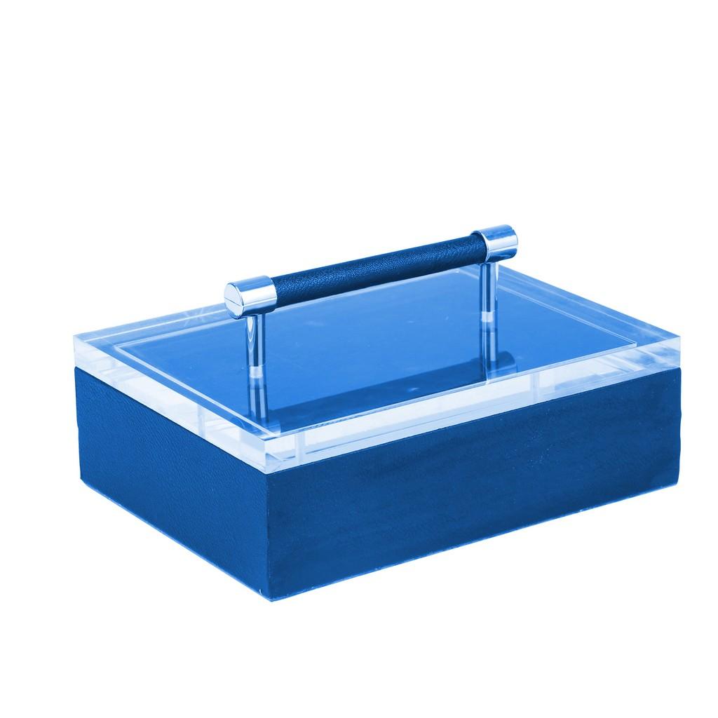 "Acrylic Top 10"" Storage Box,Navy - Sagebrook Home 14484-03"