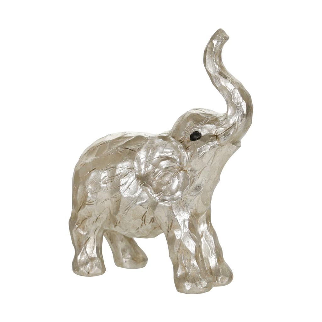 "11"" Elephant Figurine , Silver - Sagebrook Home 14876-01"