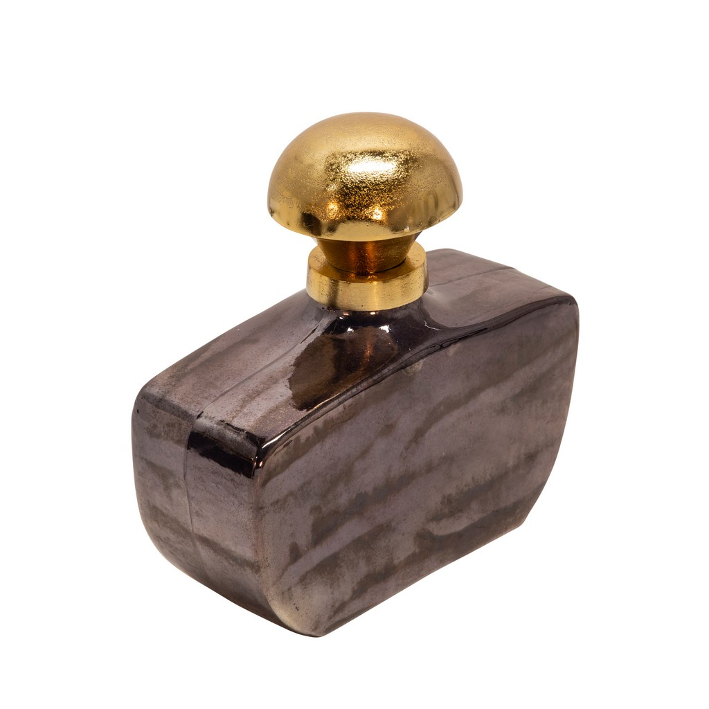 "11""H Glass Decanter W/ Knob in Black - Sagebrook Home 15615-01"