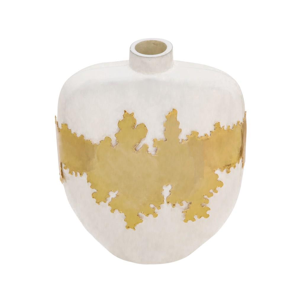 "10""H Vase W/ Gold Accent in White - Sagebrook Home 15652-01"