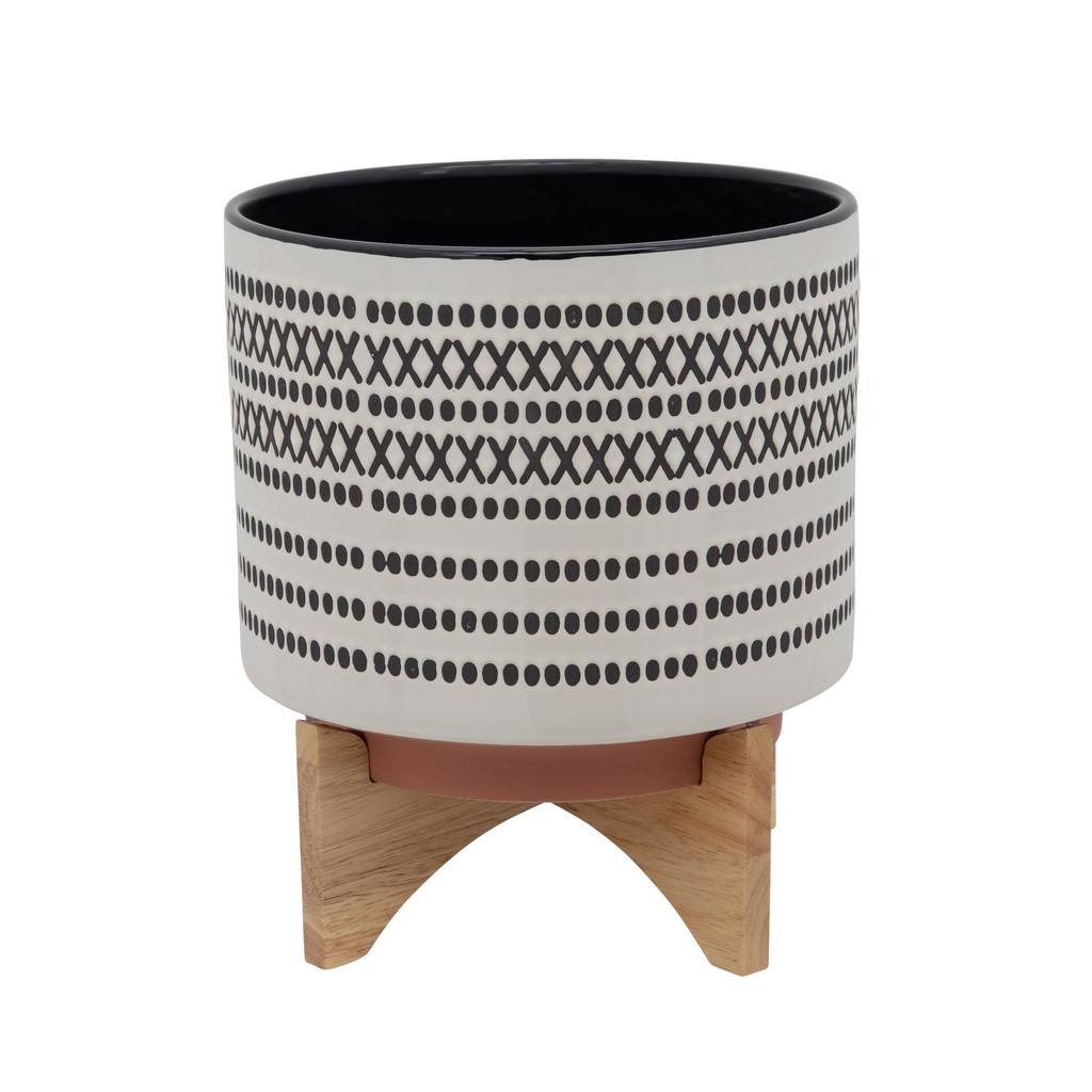 """11"""" Aztec Planter With Wood Stand, Gray - Sagebrook Home 15801-03"""