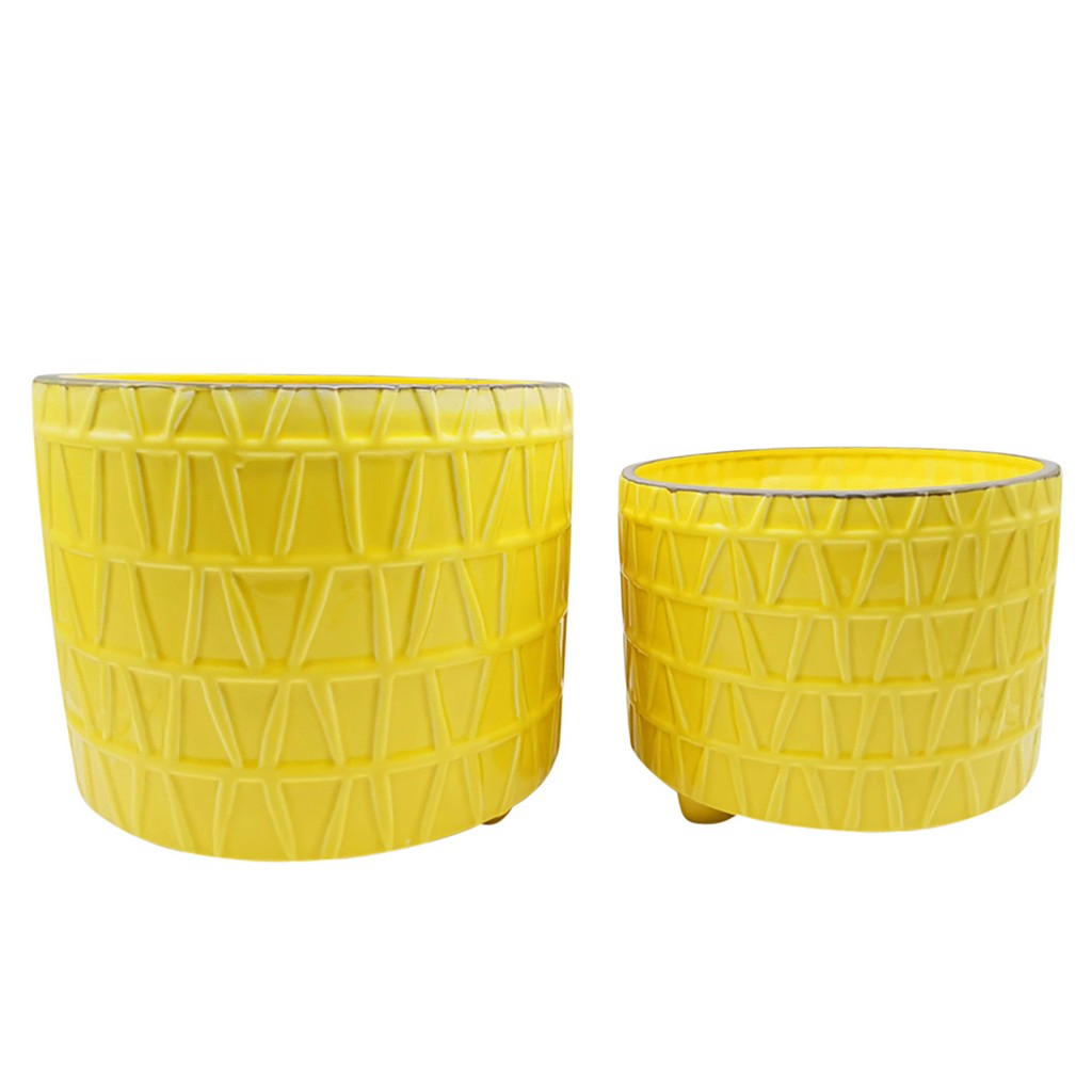 """10/12"""" Footed Etched Planter, Yellow - Sagebrook Home 15895-04"""