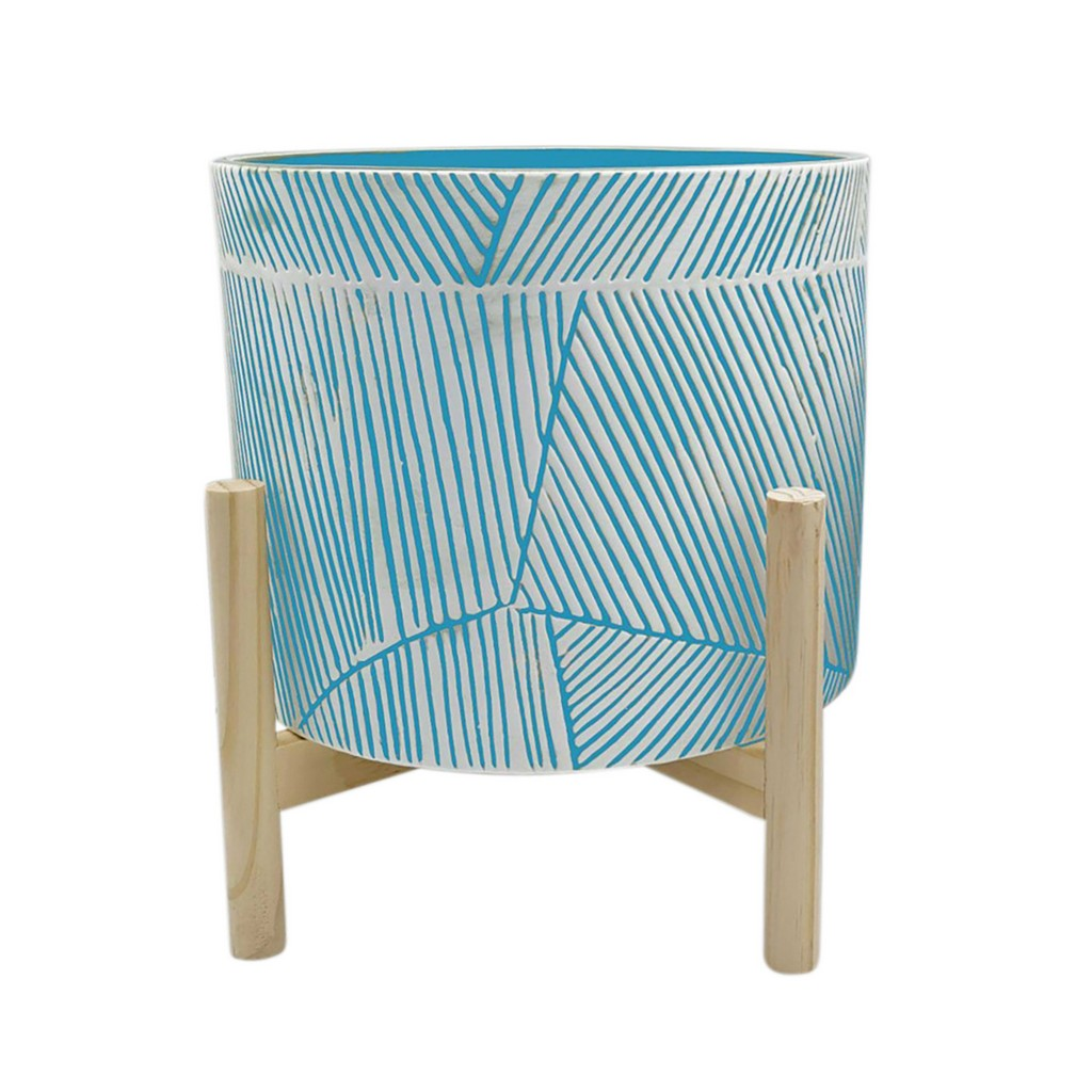 """10"""" Planter With Wood Stand, Blue - Sagebrook Home 15906-01"""