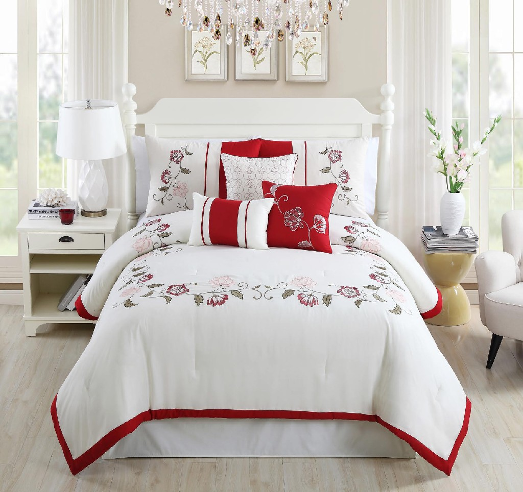 Calla Embroidered 7-PC King Comforter Set - Elight Home 20768K
