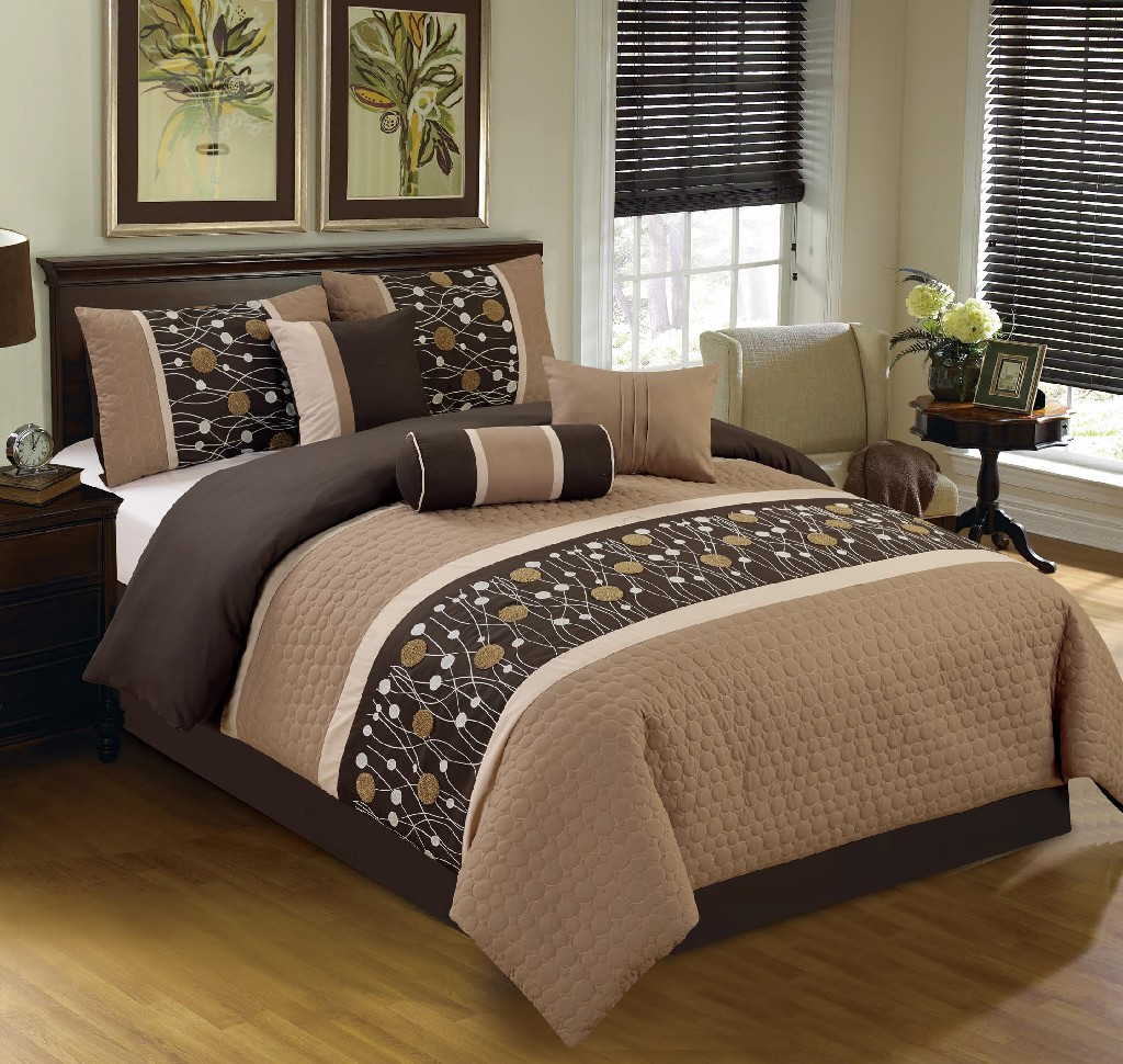 Chinensis Embrodiery 7-PC King Comforter Set - Elight Home 20839K