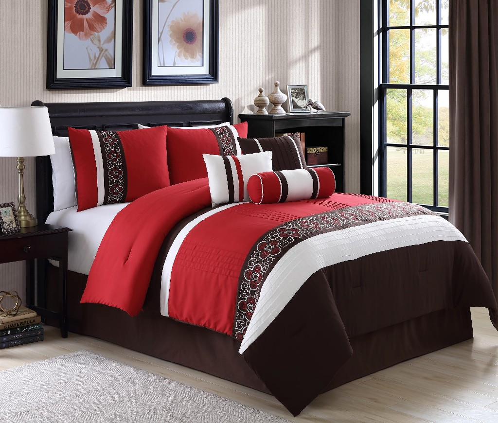 Amberlyn Embroidered 7-PC King Comforter Set - Elight Home 20881K