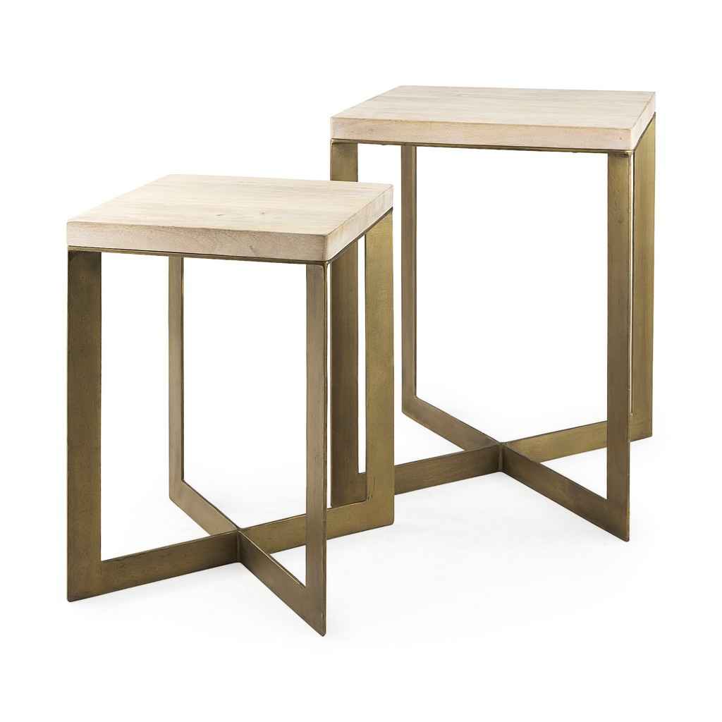 Mercana Faye Light Brown Wood Gold Metal Base Accent Tables