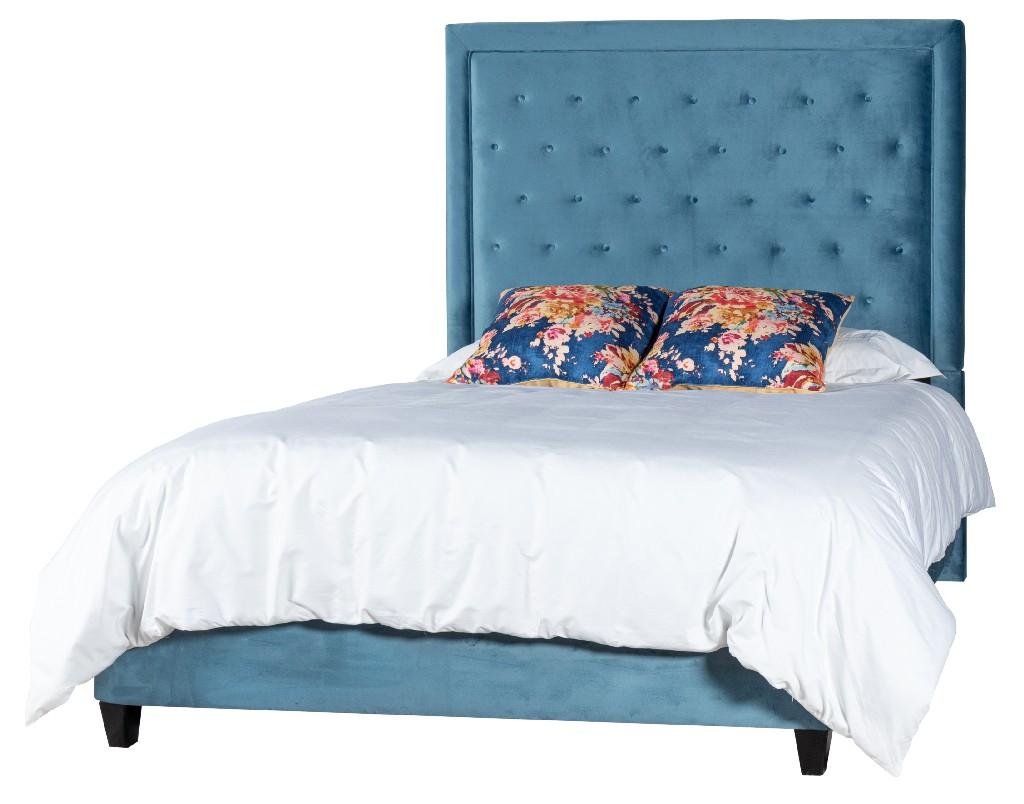 Leffler King Upholstered Bed Side Rails Footboard Chantel Teal