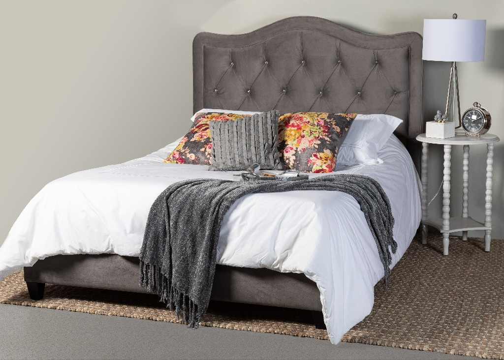 Tufted King Upholstered Bed Side Rails Footboard