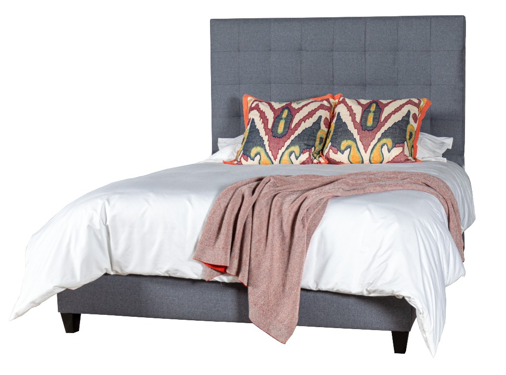 Square Tufted King Upholstered Bed Side Rails Footboard