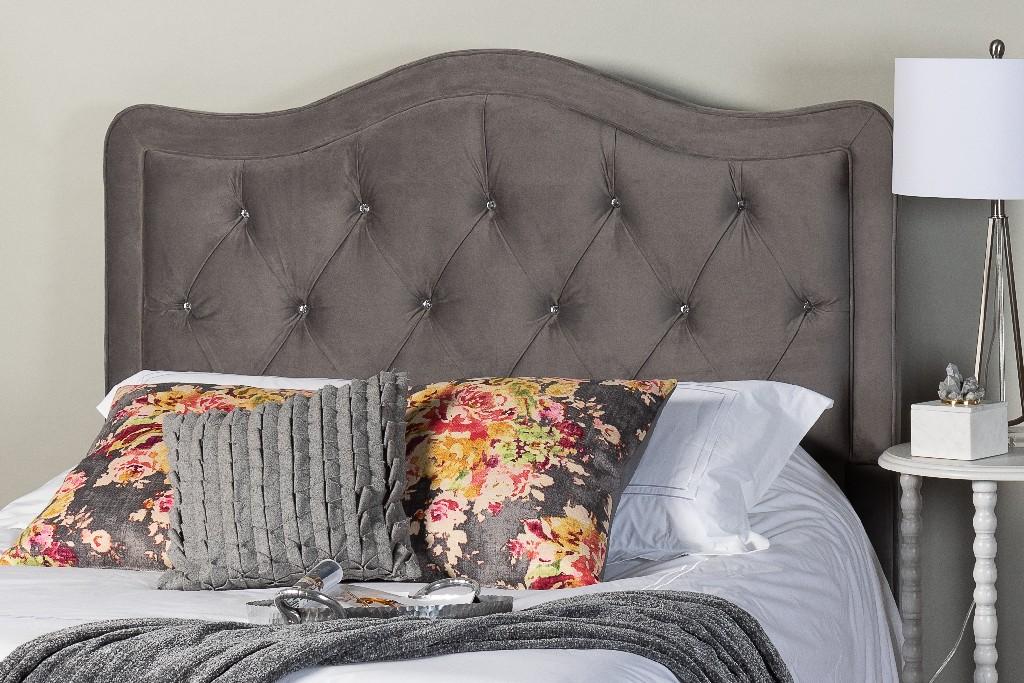 Adele Crystal Diamond Tufted King Upholstered Headboard in Gray - Leffler Home 18000-28-21-01