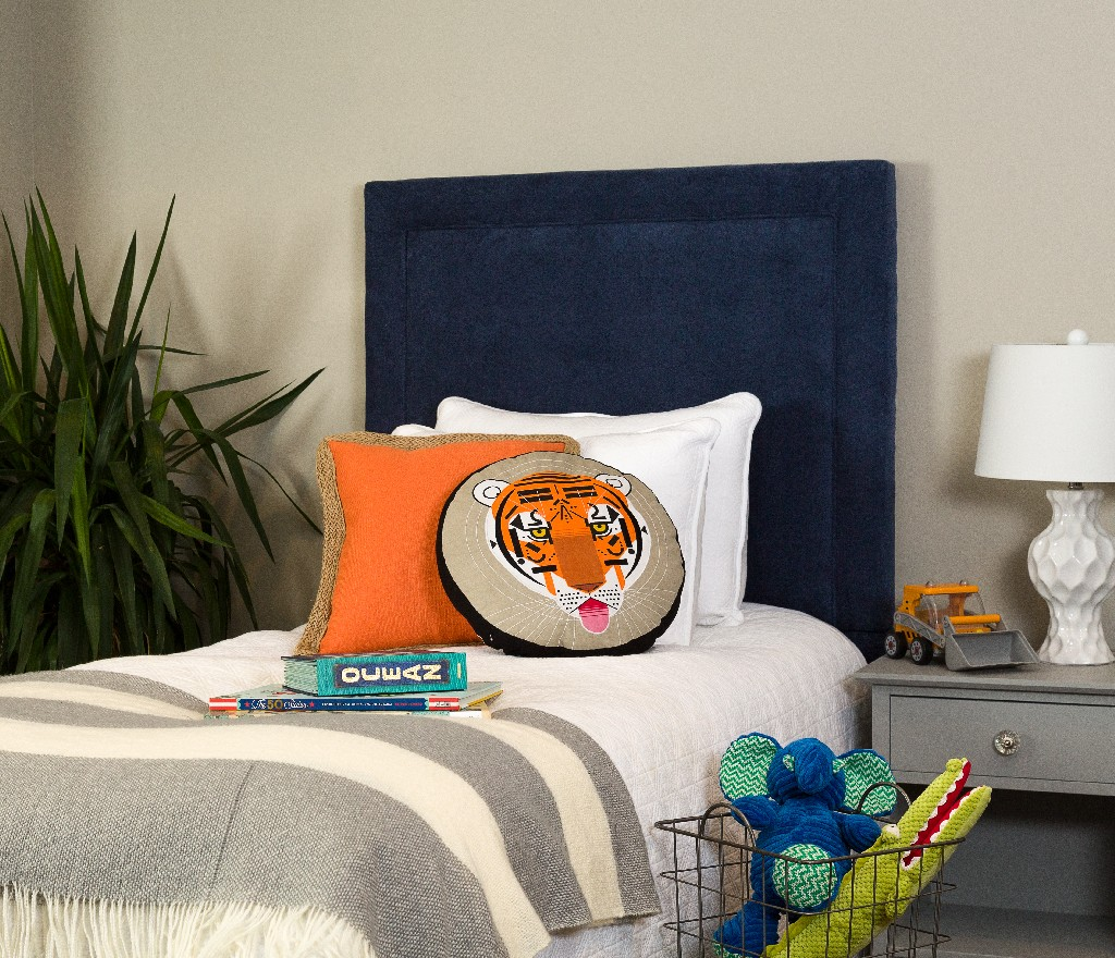 All Mine Personalized Twin Upholstered Headboard in Havana Sapphire - Leffler Home 20000-21-57-03