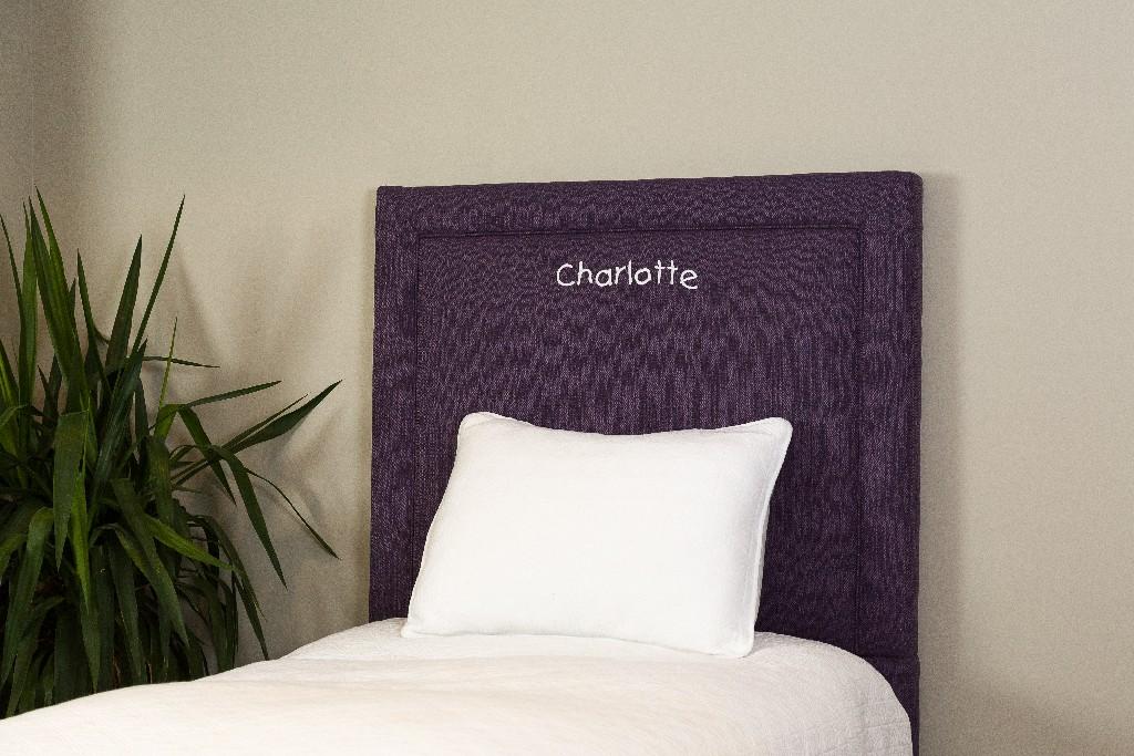 All Mine Personalized Twin Upholstered Headboard in Stallion Purple - Leffler Home 20000-21-62-03
