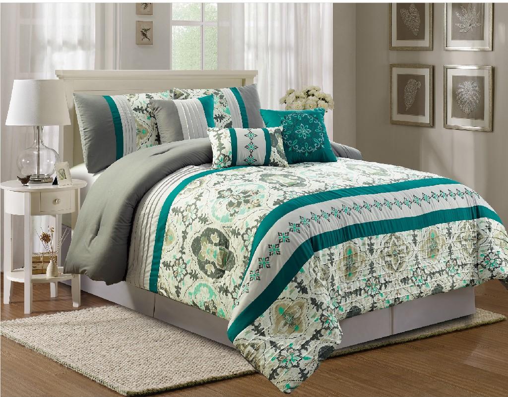 Bernadina Embroidery 7-PC Queen Comforter Set - Elight Home 21156Q