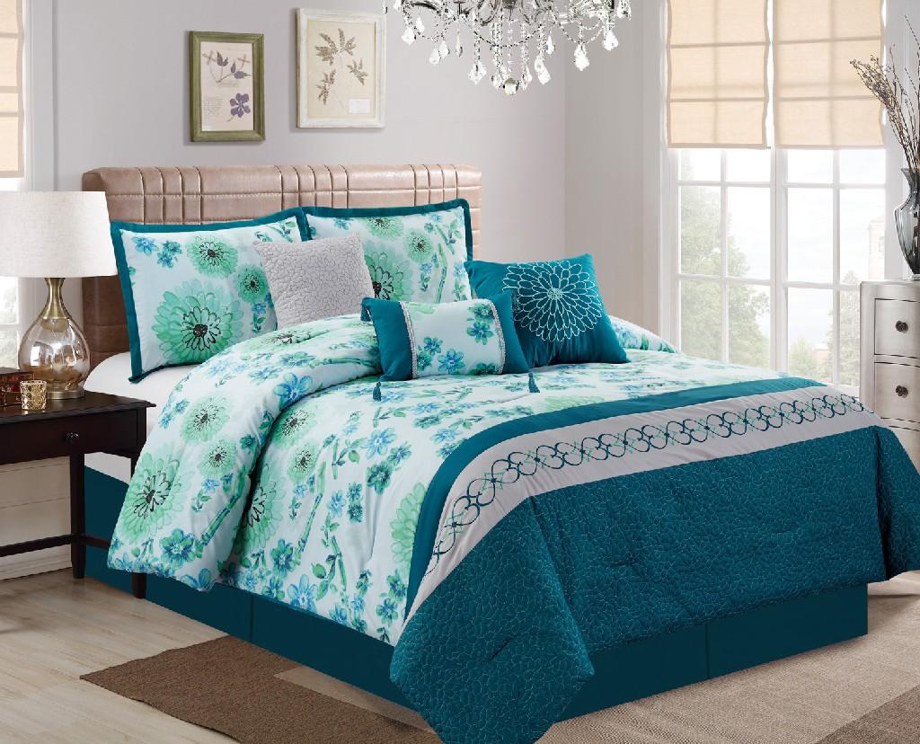 Denae Embroidery 7-PC King Comforter Set - Elight Home 21163K