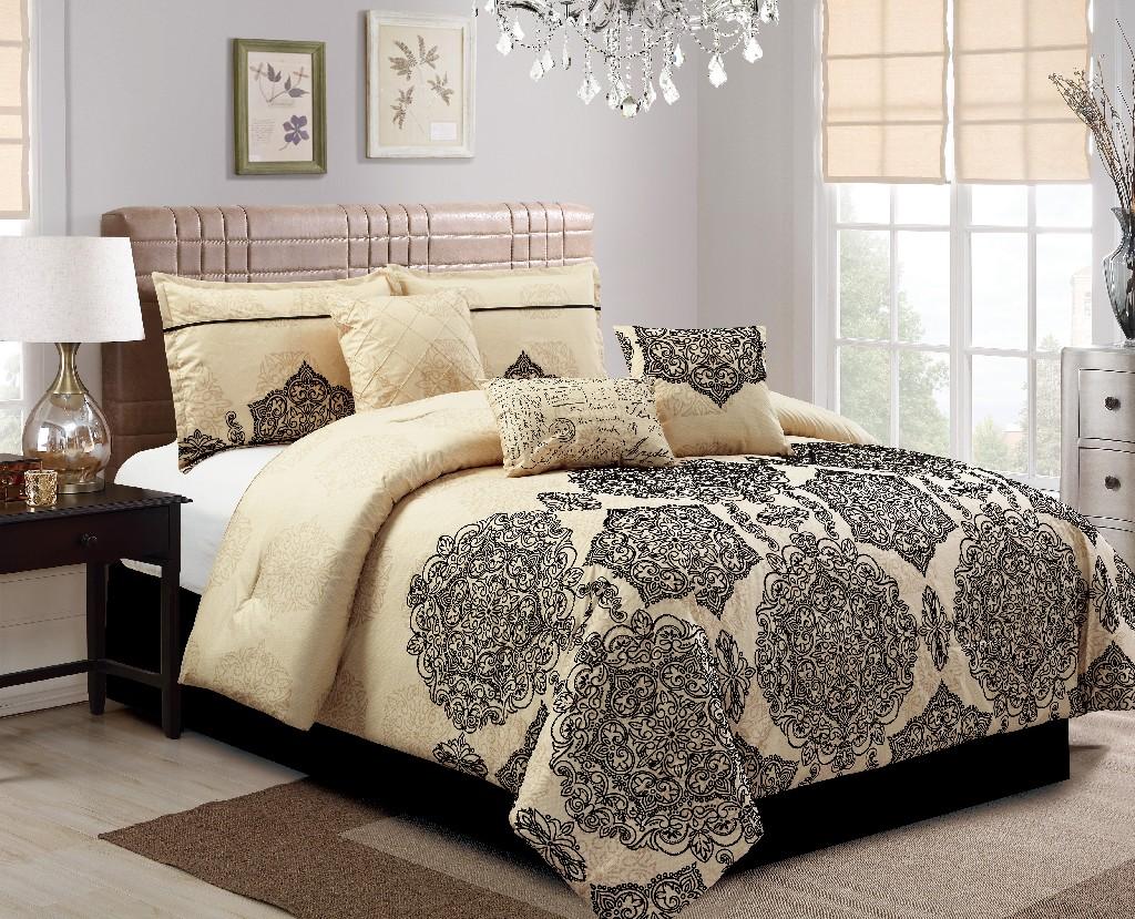 Ganan Embroidery 7-PC King Comforter Set - Elight Home 21168K