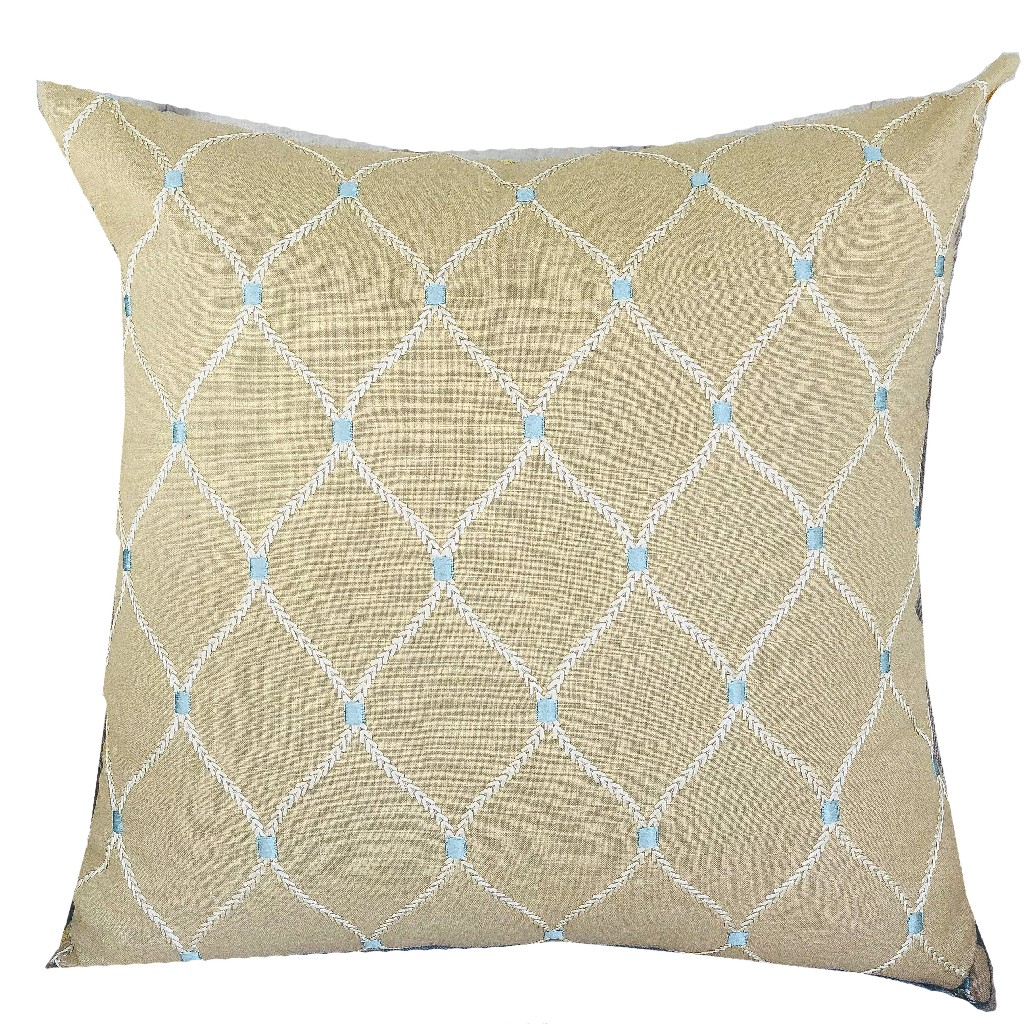 Abby Taupe White and Blue Handmade Luxury Pillow - Plutus PBRAZ186