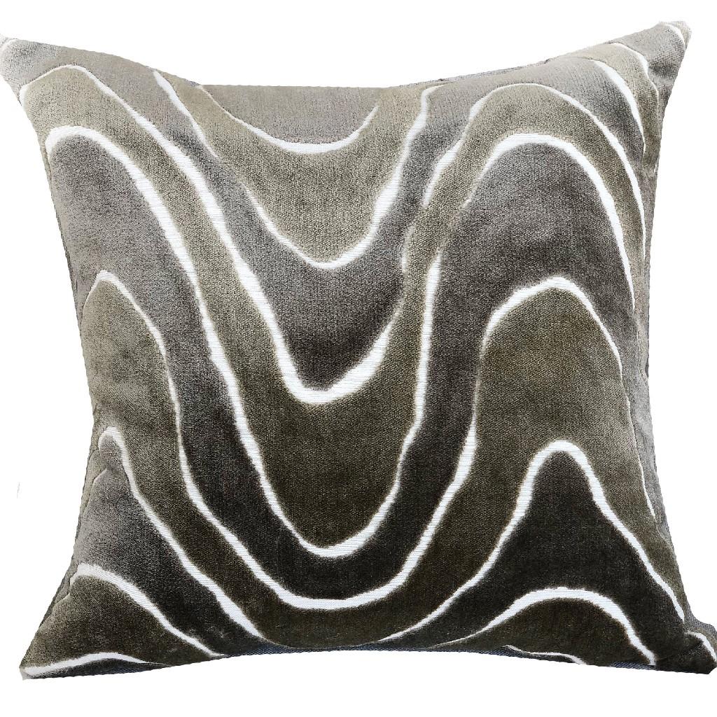 Sensous Waves Taupe Ivory Greige Handmade Luxury Pillow Plutus Pbraz397 2020 Dp