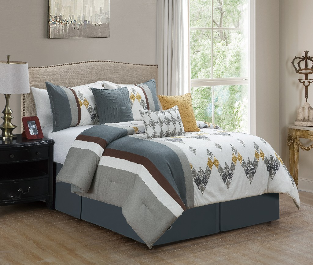 Asiya Embroidered 7-PC Queen Comforter set - Elight Home 21207Q