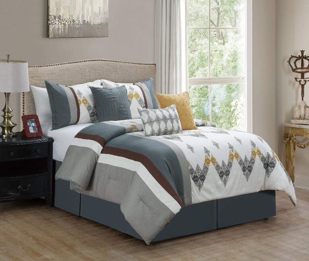 Asiya Embroidered 7-PC King Comforter set - Elight Home 21207K