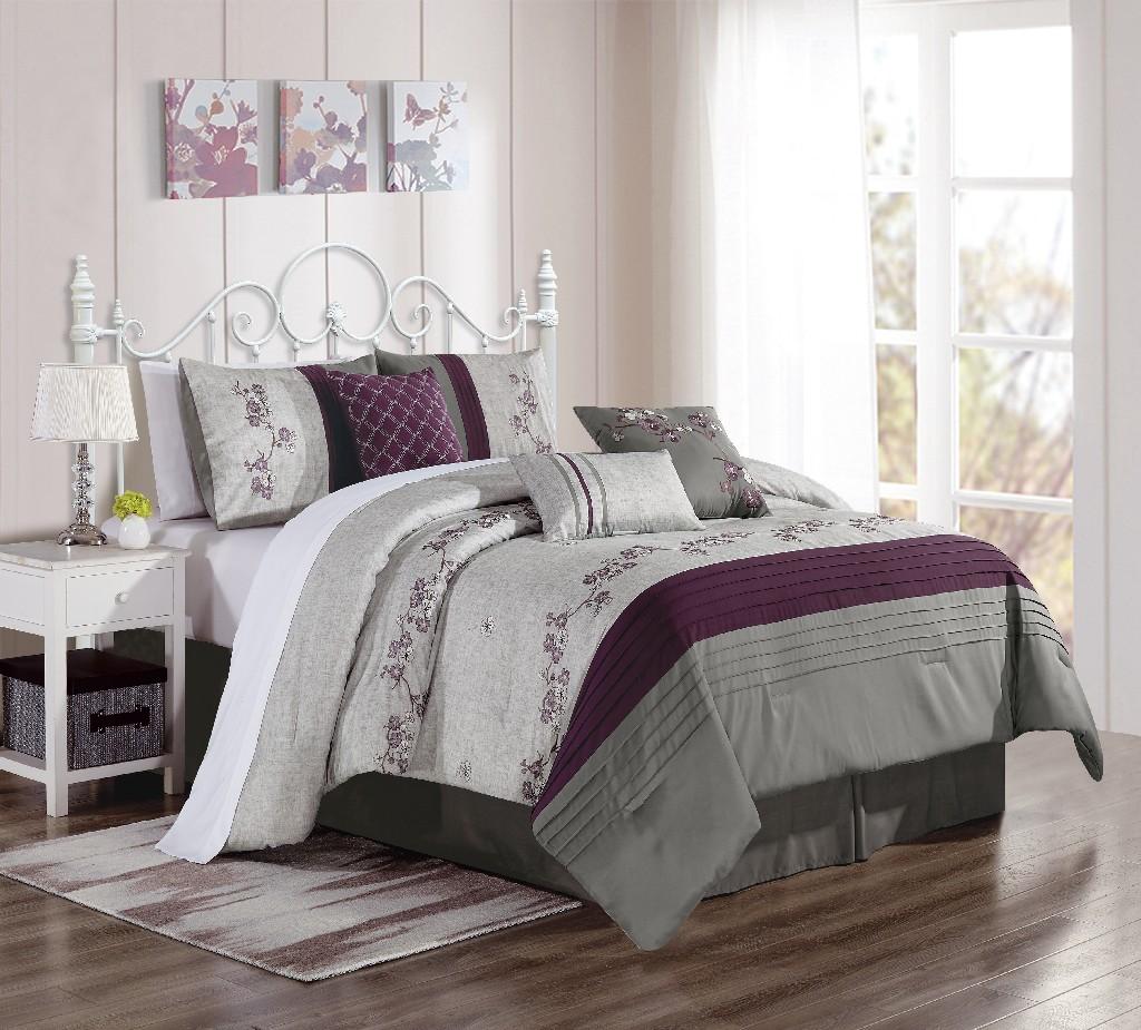 Gilder Embroidery 7-PC Queen Comforter Set - Elight Home 21211Q