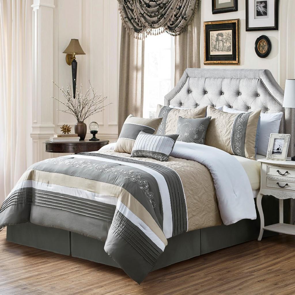 Bruner Embroidery King Comforter Set - Elight Home 21229K