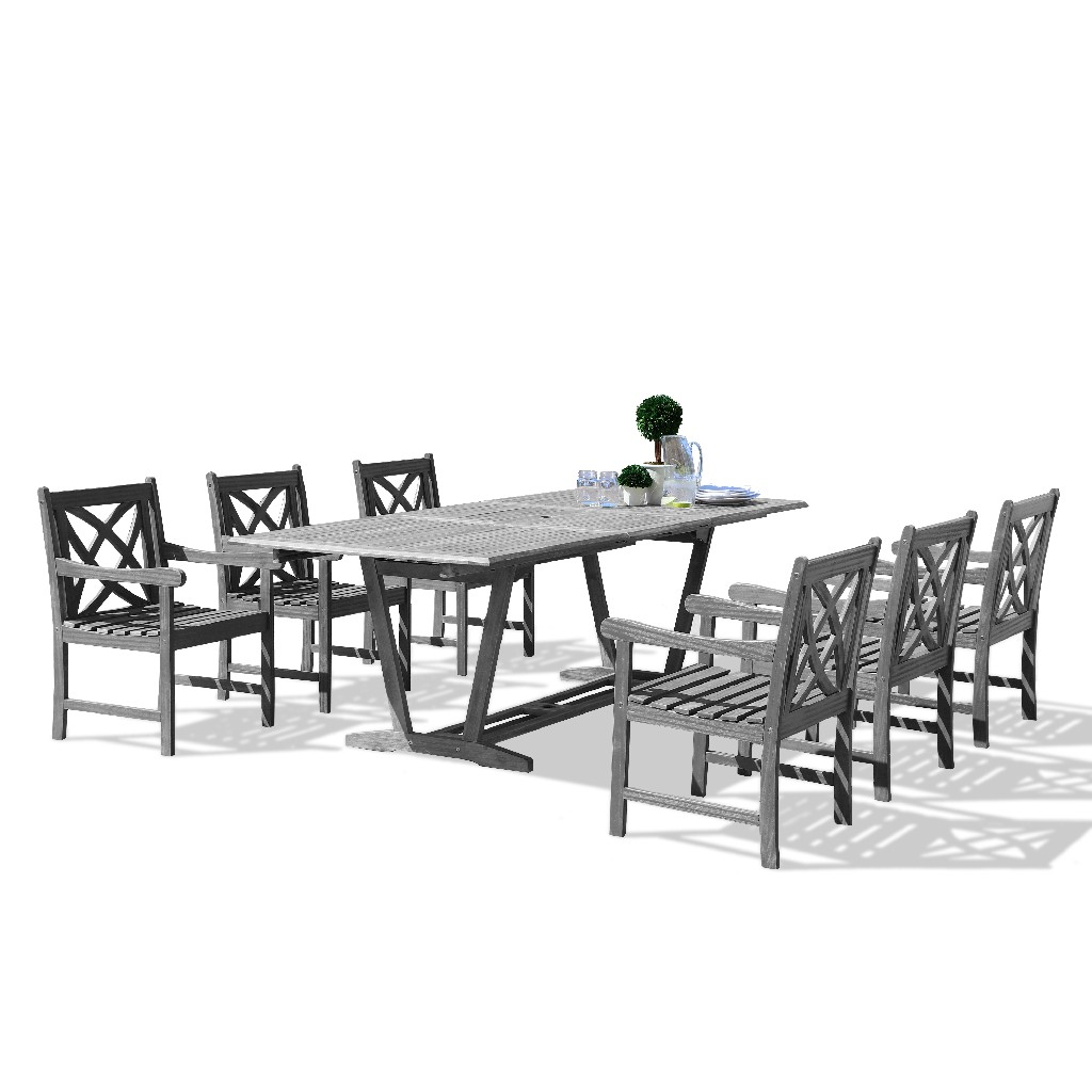 Vifah Outdoor Wood Dining Set Patio Extension Table