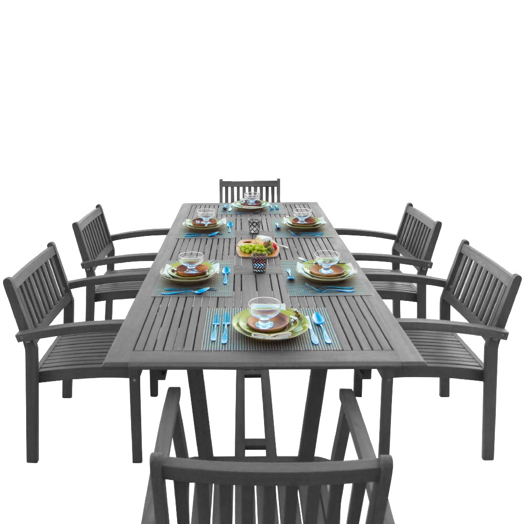 Patio Hand Scraped Wood Dining Set Extension Table