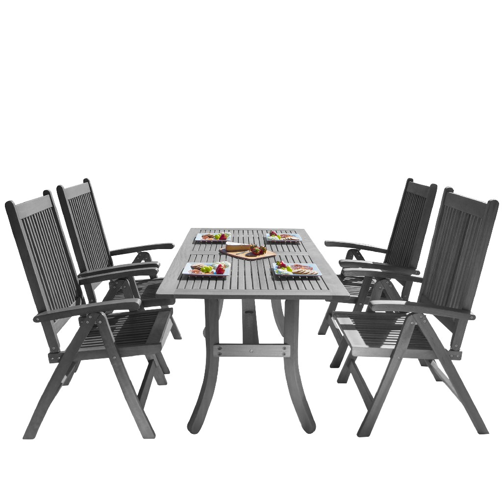 Vifah Patio Wood Dining Set Reclining Chairs