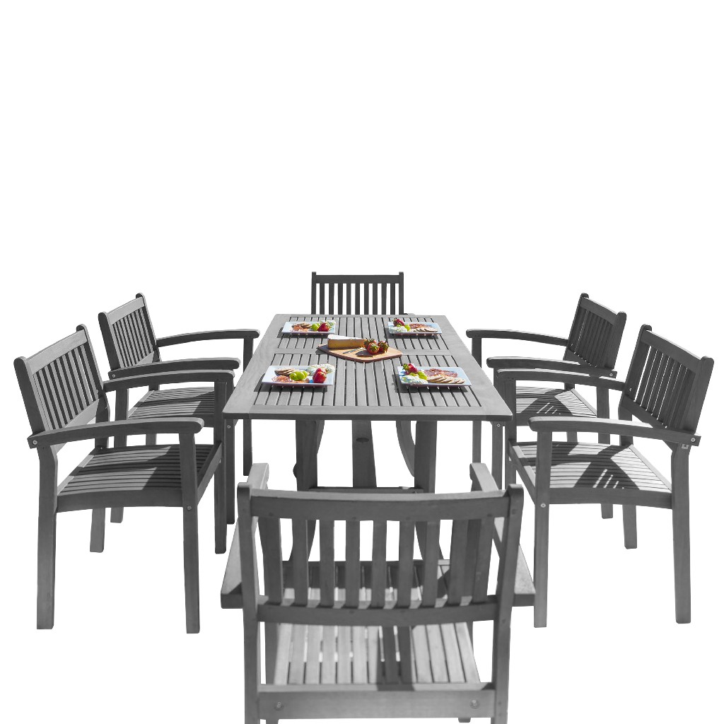 Vifah Patio Wood Dining Set Stacking Chairs