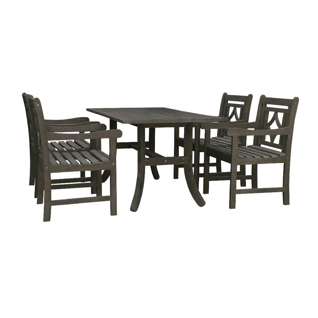 Vifah Wood Patio Curvy Legs Table Dining Set